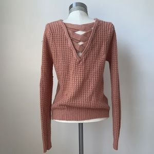 Women's Sweater with Criss Cross Back-Pink